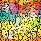 Seamless pattern with bright colorful hand drawn abstract geomet