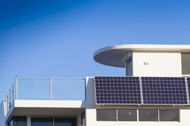 pic of track home  - Adjustable solar panel installation on modern home - JPG