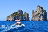 Boating to Capri, Italy