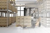 CAD planning of mail order warehouse with forklift and many boxes (3D Rendering)