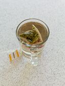 Chamomile Teabag In Glass Mug On Table