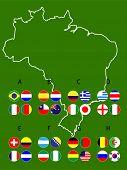 Brazil Football Cup Groups Map Circles