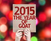 2015 The Year of Goat card with colorful background with defocused lights