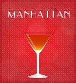 Drinks List Manhattan With Red Background