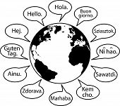 Translate Earth Languages Say Hello World.