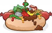 Chili Cheese Hot Dog With Toppings Cartoon