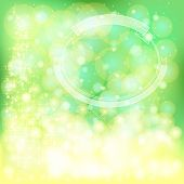 Green Festive Christmas Background With Snowflakes And Sparkling Lights, Create By Vector