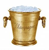 Champagne Bucket, Full With Ice Isolated On White Background