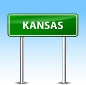 pic of kansas  - Illustration of Kansas  green metal road sign - JPG