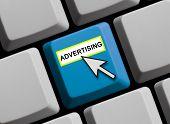 Blue Computer Keyboard showing advertising