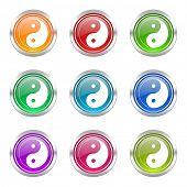 ying yang icons set