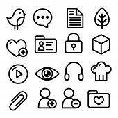 Website menu navigation line icons - social , blog, web page