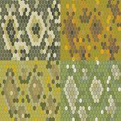 Set 4 snake skin texture. Seamless pattern python. Vector