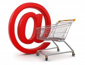 Shopping Cart with e-mail  (clipping path included)