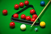 pic of snooker  - snooker balls set on a green table - JPG