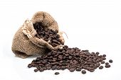 Coffee Beans In Bag Isolated On White Background