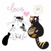 stock photo of cat-tail  - funny cartoon cats in love on a white background - JPG