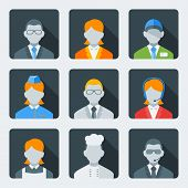 Flat Style Icon Set For Web And Mobile Application. Business People And Professions