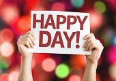 Happy Day card with colorful background with defocused lights