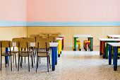 Lunchroom Of The Refectory Of The Kindergarten With Small Benches