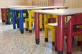 Refectory Of The Kindergarten With Small Benches And Small Colored Chairs