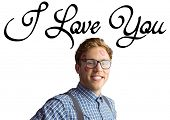 Geeky hipster covered in kisses against i love you