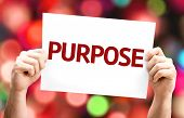 Purpose card with colorful background with defocused lights