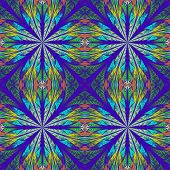 Symmetrical Pattern In Stained-glass Window Style. Blue And Darkblue Palette. Computer Generated Gra