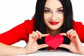 Beautiful woman with valentines day heart