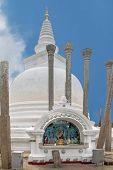 Anuradhapura - circa December 2014: Ancient white stupa Thuparamaya Dagobain in  Sri Lanka