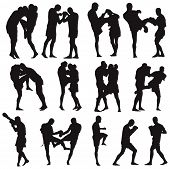 image of muay thai  - Muay Thai martial art vector silhouettes collection - JPG