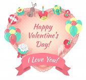 Valentines Day Card with Love Symbols