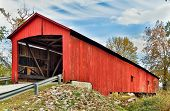 picture of covered bridge  - The Oakalla Covered Bridge spans Big Walnut Creek in rural Putnam County - JPG