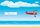 pic of propeller plane  - Red plane with banner flying above a beach - JPG