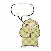 cartoon monk in robe with speech bubble