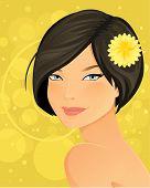stock photo of chrysanthemum  - Beautiful brunette woman portrait with chrysanthemum flower - JPG
