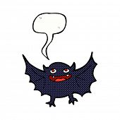 image of vampire bat  - cartoon vampire bat with speech bubble - JPG