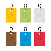 Colorful Tags With The Motif Of Flakes