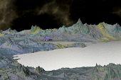 3D Rendered Fantasy Alien Planet. House Ashore Lake