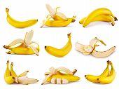 Set Of Yellow Ripe Fragrant Banana