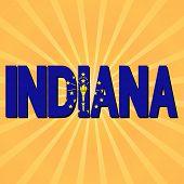 Indiana flag text with sunburst illustration