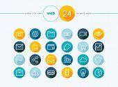 Web Flat Icons Outline Style Set