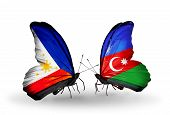 Two Butterflies With Flags On Wings As Symbol Of Relations Philippines And Azerbaijan