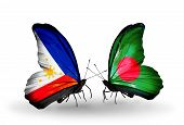 Two Butterflies With Flags On Wings As Symbol Of Relations Philippines And Bangladesh