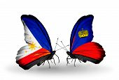 Two Butterflies With Flags On Wings As Symbol Of Relations Philippines And Liechtenstein
