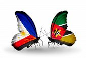 Two Butterflies With Flags On Wings As Symbol Of Relations Philippines And Mozambique