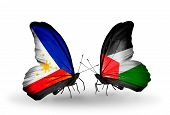 Two Butterflies With Flags On Wings As Symbol Of Relations Philippines And Palestine