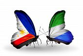 Two Butterflies With Flags On Wings As Symbol Of Relations Philippines And Sierra Leone