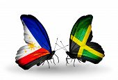 Two Butterflies With Flags On Wings As Symbol Of Relations Philippines And  Jamaica