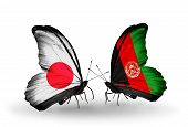 Two Butterflies With Flags On Wings As Symbol Of Relations Japan And Afghanistan